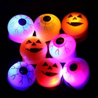 Wholesale halloween finger lights - Halloween LED Ring finger Light Flashing Pumpkin Eyeball Skull Pattern Band Ring Gift Festival Holiday decration Party Supplies FFA587