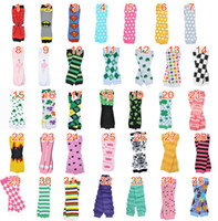 Wholesale White Cotton Leggings Wholesale - Wholesale Baby Chevron Leg Warmers Arm warmers Children Boy Girl Infant Holloween Christmas Leggings Tights Solid White Red Baby leg Warmers