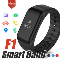 Wholesale Blood Monitoring - F1 Smart Wristbands With Heart Rate Monitor Blood Pressure Function Wireless Fitness Sports Tracker for IOS and Android Phone