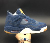 Wholesale jeans shoes boots - 4 iv denim NRG Blue Jeans Basketball Shoes with original box 4s denim black LS Jeans Sports Shoes sneaker shoes boots free shipping