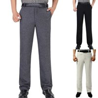 одежда для жениха оптовых-LASPERAL Men's Business Straight Pants Spring Autumn Men Formal Business Casual Pants Wedding Bridegroom Trousers Men Clothing