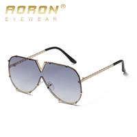 óculos escuros de grife espelhar italy venda por atacado-AORON Oversized Espelho Óculos De Sol Sem Aro piloto óculos de Sol Mulheres de Luxo Itália Marca Designer Shades Senhoras Femininas oculos de sol