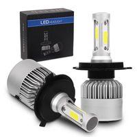 Edison2011 2pcs set H4 LED Car Light H7 H11 9005 HB3 9006 H13 9004 9007 COB S2 Auto Car Headlight 72W 8000LM 6500K