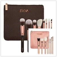 Wholesale Plastic Bags Free Shipping - 2017 New Brand Z-O-E-V-A Brush Set Professional Makeup Brush Set Eyeshadow Eyeliner Blending Pencil Cosmetics Tools With Bag free shipping