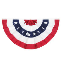 ingrosso ottone unito-USA Bandiera a pieghe pieghettate, strisce - Colore affilato e resistente allo sbiadimento - Intestazioni di tela e ottone - Stati Uniti 45X90CM Mezza bandiera a ventaglio