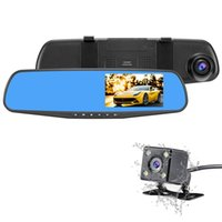 Wholesale Rear Vision Mirror Reverse Camera - Dual Lens Car Camera Rear View Reverse Mirror Backup Camera 1080P Full HD Dash Cam Car DVR with 4.3 Inch Screen 140 degree Lens
