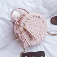 Wholesale white lace gift bags resale online - THINKTHENDO Fashion Design Women Girl Lace Bag Tassel Round Handbag Purse Crossbody Tote Shoulder Bags Gift