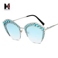 gespiegelte rosa gerahmte sonnenbrille großhandel-SHAUNA Luxus Kristall Dekoration Frauen Halbmetallrahmen Sonnenbrille Mode Damen Rosa Spiegel Cat Eye Brillen UV400