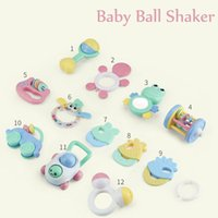 Wholesale teether rattle set - top 12pcs set Baby Rattles Teether Ball Shaker Teether Toy Play Set for Baby Infant Non Toxic Colorful Toddler Toys oth277