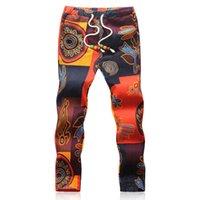 ingrosso ragazzo asiatico-2017 Estate Designer pantaloni di lino Uomini Stampa Casual Jogger Pantaloni Ragazzi (formato asiatico M-5XL)