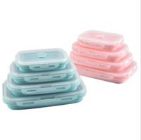 silikon schalen kinder großhandel-Praktische Silikon Lunchbox Für Kinder Tragbare Schüssel Falten Lebensmittelbehälter Lunchbox Umweltfreundliche Schule Lunch-Boxen