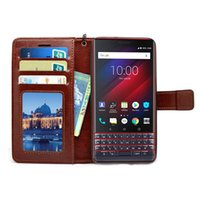 Wholesale leather case for flip key resale online - Hot Sell Flip leather Case for Black Berry Key LE TPU PU Leather Magnetic Book Wallet Cover Pouch With Lanyard