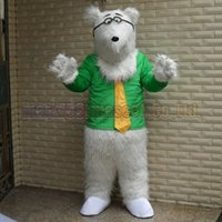 ingrosso vendite di giocattoli adulti-La dimensione adulta di trasporto del costume della mascotte dell'orso polare, il partito di lusso di carnevale del giocattolo della peluche della mascotte dell'orso degli occhiali celebra le vendite della fabbrica della mascotte.
