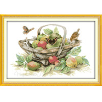 el işi iğne çapraz dikiş seti sayılır toptan satış-Meyve sepeti (4) Desenler DIY El Yapımı Sayılan Çapraz dikiş kiti ve Hassas Damgalı Nakış seti Dikiş DMC 14ct ve 11ct