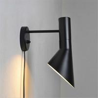luminarias vintage al por mayor-Creativa moderna lámparas designwall Arne Jacobsen Vintage aplique Loft lámpara de Louis Poulsen AJ lámpara de pared blanco / negro accesorios de iluminación