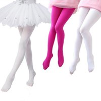 Wholesale tights nylon pantyhose - 80D Velvet Children's pantyhose kids Full Foot Sports Socks girl's Tights Ballet Dance Stockings Leggings High Quality15 Colors 3 Sizes