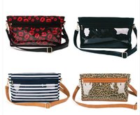 Wholesale motorcycle cross body bags resale online - Royalblanks Striped PU And PVC Material Cross Body Bag Fashion Casual Make Up Bag RB1026