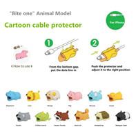 diseño de embalaje de cable al por mayor-Cable Bite Charger Cable Protector Savor Cover para iPhone Lightning Cute Animal Design Cable de carga Protector con paquete opp