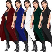 Wholesale long spring trench coats women - women Irregular Lapel Cape Sleeveless Irregular Cardigan Long Cloak Open Front Trench Coat 5 Colors 5pcs LJJO4134