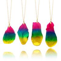 ingrosso artigianato agata-Maglione catena moda agata irregolare fetta nuova collana arcobaleno colorato artigianato regali pendente in pietra naturale vendita calda 10yg V