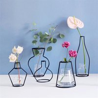 Wholesale glass table vase - Metal Stand Iron Vase For Wedding Party Table Centerpieces Decorations DIY Flower Pot Without Glass Jardiniere Rack Many Styles 10ld YZ