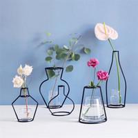 glasblumen steht großhandel-Metall Ständer Eisen Vase für Hochzeit Tischdekoration Dekorationen DIY Blumentopf ohne Glas Jardiniere Rack viele Stile 10ld YZ
