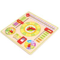 aprendiendo relojes de juguete al por mayor-Bloques 1 Pc Multifuncional de Dibujos Animados Reloj de Madera Juguete Cognitivo Calendario Temporada Fecha Niños Juguete Educativo Aprendizaje Temprano Juguetes Rompecabezas