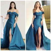 Wholesale Teal Long Sleeve Satin Dress - Teal Blue Sexy Split Evening Pageant Dresses with Overskirt 2018 Custom Make Off Shoulder Pleated Soft Satin Occasion Prom Dress