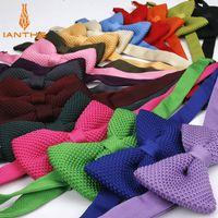 laço de malha dos homens venda por atacado-Brand New Estilo Mens Knit Bowtie Borboleta Ajustável Para Homens Gravata Bowties Designer de Tricô Doce Cor Sólida Laço Puro