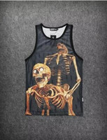 Wholesale Sexy Skull Tank Tops - New Women Men Tank Tops Personality Statue of Liberty Sexy Skull Graffiti 3D Print Mesh Breathable Casual Vest