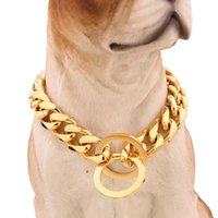 Wholesale dropshipping dog - Hot sell 15mm 12-34 inch Gold Tone Double Curb Cuban Rombo Link Stainless Steel Dog Chain Necklace Collar Wholesale DropShipping