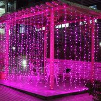 lumières de rideau blanches fraîches menées achat en gros de-Chaîne de rideau en fenêtre LED Light 306 Chaîne de lumière LED Icicle 9.8ft x 9.8ft 8 Modes Guirlande lumineuse pour patio en plein air pour mariage en plein air