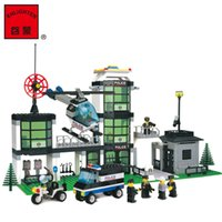 Wholesale Police Motorcycles - wholesale 110 City Series Police Weapons Command Centre Motorcycle Helicopter Building Blocks Sets Compatible With Legoe Lepin