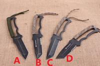 kizarma sabit bıçak av bıçakları toptan satış-Browning sabit Survival açık Kamp Survival Avcılık bıçak EDC Çok Amaçlı aracı Savunma 56HRC 5CR15MOV BLADE tam bladehalftooth