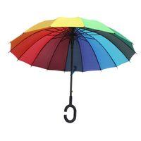 Wholesale windproof umbrella golf - C Hook Rainbow Umbrella Long Handle 16K Straight Windproof Colorful Pongee Umbrella Women Men Sunny Rainy Umbrella HH7-1116