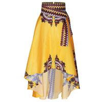 sarı etek baskılar moda toptan satış-Avrupa Amerika Afrika Moda baskı Kadın Indie Halk Trompet Etek sarı kırmızı Harajuku zarif büyük Hem Mermaid Kadın Etek