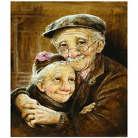 Wholesale couple animals painting - 5D DIY Diamond Painting Full Rhinestone Mosaic Diamond Painting Hugging old couple Cross Stitch Embroidery Home Decor DW883