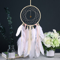 ingrosso automobile handmade dell'abitazione domestica-Vintage Dream Catcher Net con luce a LED a mano con piuma regalo Dreamcatcher Decorazione Ornamento Car Hanging Decor Home Hanging Craft