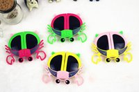 ingrosso ragazze ragazze bicchieri-Occhiali da sole per bambini Fold Cartoon Butterfly Owl Fox Crab Panda Ladybird Peach Bambini sunblock UV Ragazzi Ragazze occhiali 10 stili
