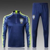 Wholesale half tights - 2018-19 Brazil training suits Uniforms shirts Chandal pogba NEYMAR JR tracksuits Survetement long sleeve tight pants With half zipper