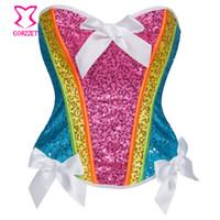 traje de mulher arco-íris venda por atacado-Rainbow lantejoula espartilho top mulheres burlesco neon rave clothing espartilhos sexy espartilho lantejoula unicórnio traje kit corpete corpete