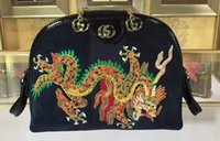 Wholesale embroidered leather shoulders bags - AAAAA Womens 499621 Ophidia Dragon Embroidered Small Shoulder Bag,Zipper Pullers Canvas+Leather,Come with Box Dust Bag Free Shipping