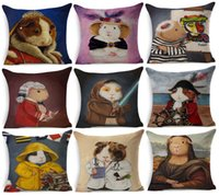 Wholesale pig costume adult - 23 Styles Guinea Pig In Costumes Art Cushion Covers European Retro Style Oil Paintings Animal cavy Cosplay Cushion Cover Linen Pillow Case
