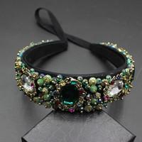 bandeaux en cristal de fleurs achat en gros de-Mode gemmes perles vintage femmes fleur baroque bonne qualité hairband luxe cristal gem bandeau bijoux de mariée 609 S918