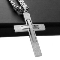 Wholesale jewellery crosses necklace - Retro Fashion Jewellery Men's 2 Layer Cross Pendant Necklace Top Quality Stainless Steel Link Byzantine Chain Jewelry