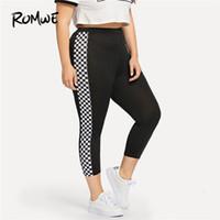 black female yoga pants al por mayor-Romwe Sport Plus Size Black Gingham Checkered Women Fitness Running Pants 2018 Gym Pantalones deportivos Yoga para mujer Jogging Leggings