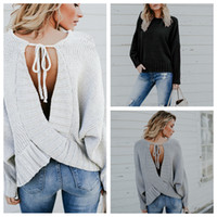 Discount backless sweater long sleeve - Designer Sweater Women Backless Long Batwing Sleeve Fall Winter Knitted Pullover Sweaters White Gray Black S-XL