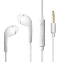 weiße mikrofone großhandel-Für Samsung S6 Kopfhörer OEM 3.5mm Tangle Free Stereo Headset mit Mikrofon-Lautstärketaste Für iPhone - Nicht-Einzelhandel Verpackung weiß