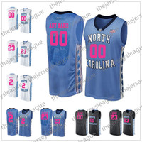 ingrosso pallacanestro jersey rosa-NCAA Custom North Carolina Tar Heels Mother Days Qualsiasi Nome Qualsiasi Numero Rosa Blu Bianco Cucita Michael Maye College Basketball Jersey