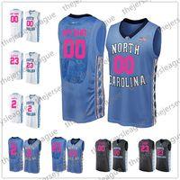 баскетбол джерси розовый оптовых-NCAA пользовательские Северная Каролина смола каблуки мать дней любое имя любое число Розовый Синий Белый сшитые Майкл Мэй колледж баскетбол Джерси